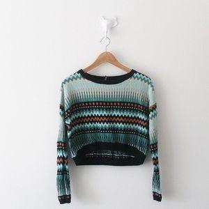 💕 H&M Crop Sweater Striped Gold Thread